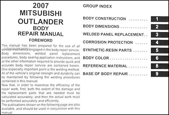 2007 mitsubishi outlander body manual original · table of contents
