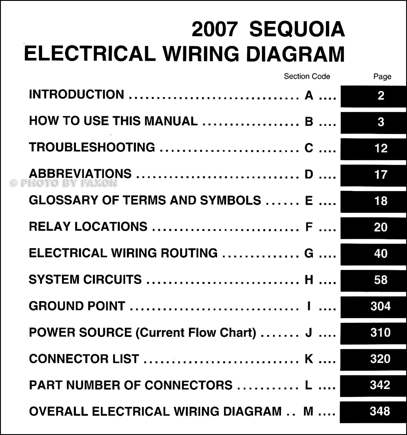 2007 Toyota Sequoia Wiring Diagram Manual Original | 2014 Toyota Sequoia Wiring Diagram |  | Faxon Auto Literature