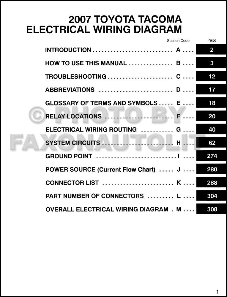 2007 toyota tacoma pickup wiring diagram manual original rh faxonautoliterature com 2007 tacoma radio wiring diagram 2007 tacoma jbl wiring diagram