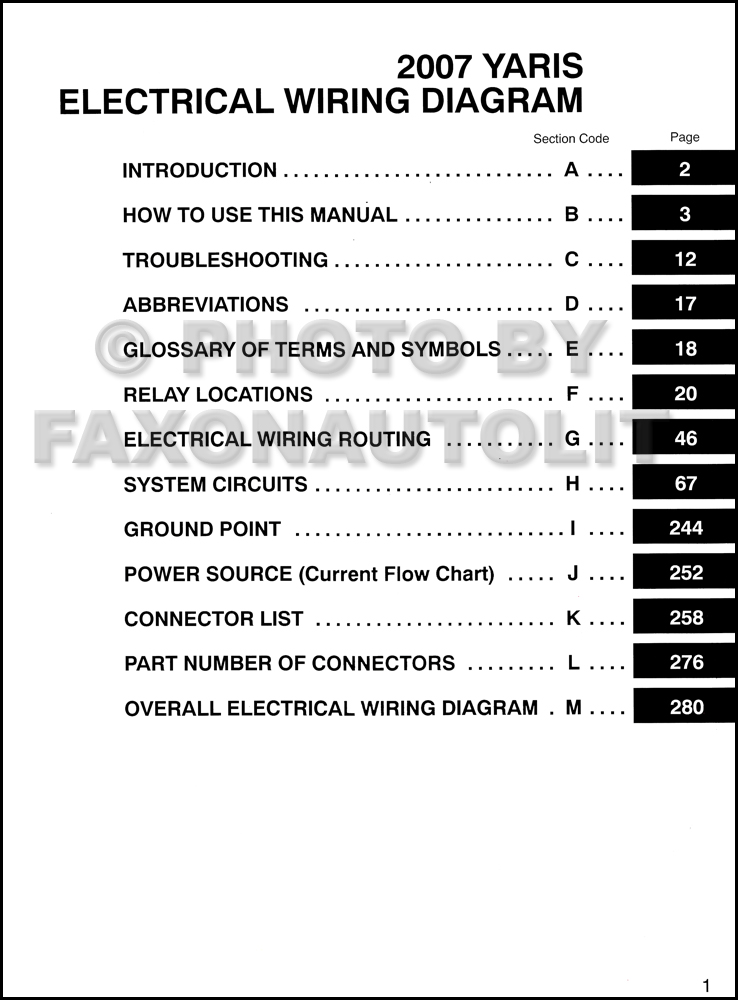 2007 Toyota Yaris Wiring Diagram Manual Original · Table Of Contents Page: Toyota Yaris 2001 Electrical Wiring Diagram At Anocheocurrio.co