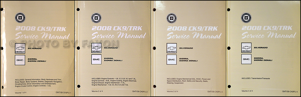 2008 Chevrolet Silverado and GMC Sierra Repair Shop Manual Original 4 Volume Set