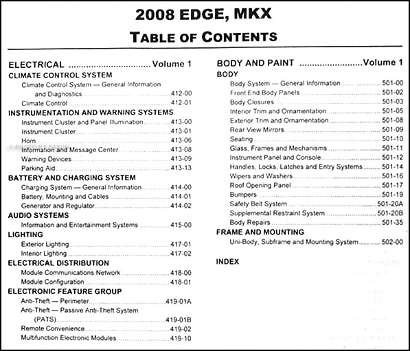 Ford Ranger Repair Manual >> 2008 Ford Edge and Lincoln MKX Repair Shop Manual 2 Volume Set Original