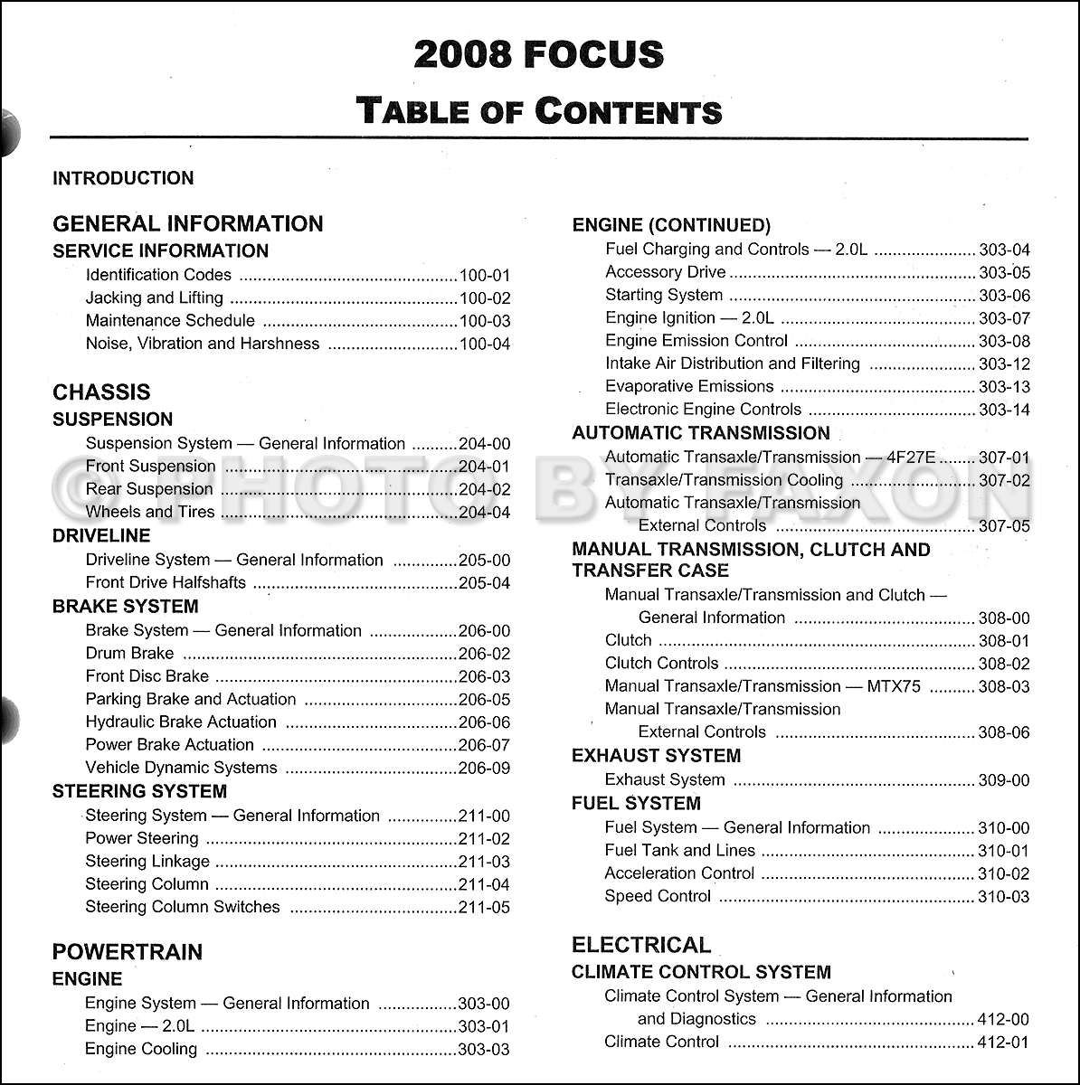 2008 ford focus repair shop manual original rh faxonautoliterature com ford focus manual 2008 Ford Focus Repair Manual Diagrams