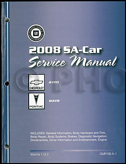 2008 Chevy Aveo Pontiac Wave Repair Manual Original 2 Volume Set