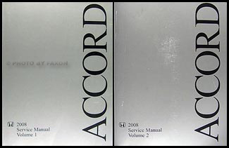 2008 Honda Accord Repair Manual Original 2 Vol. Set