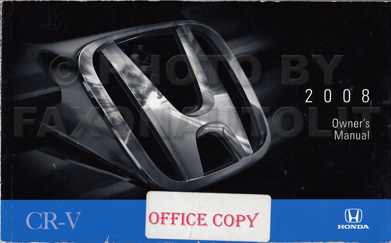 2008 Honda CR-V Owner's Manual Original