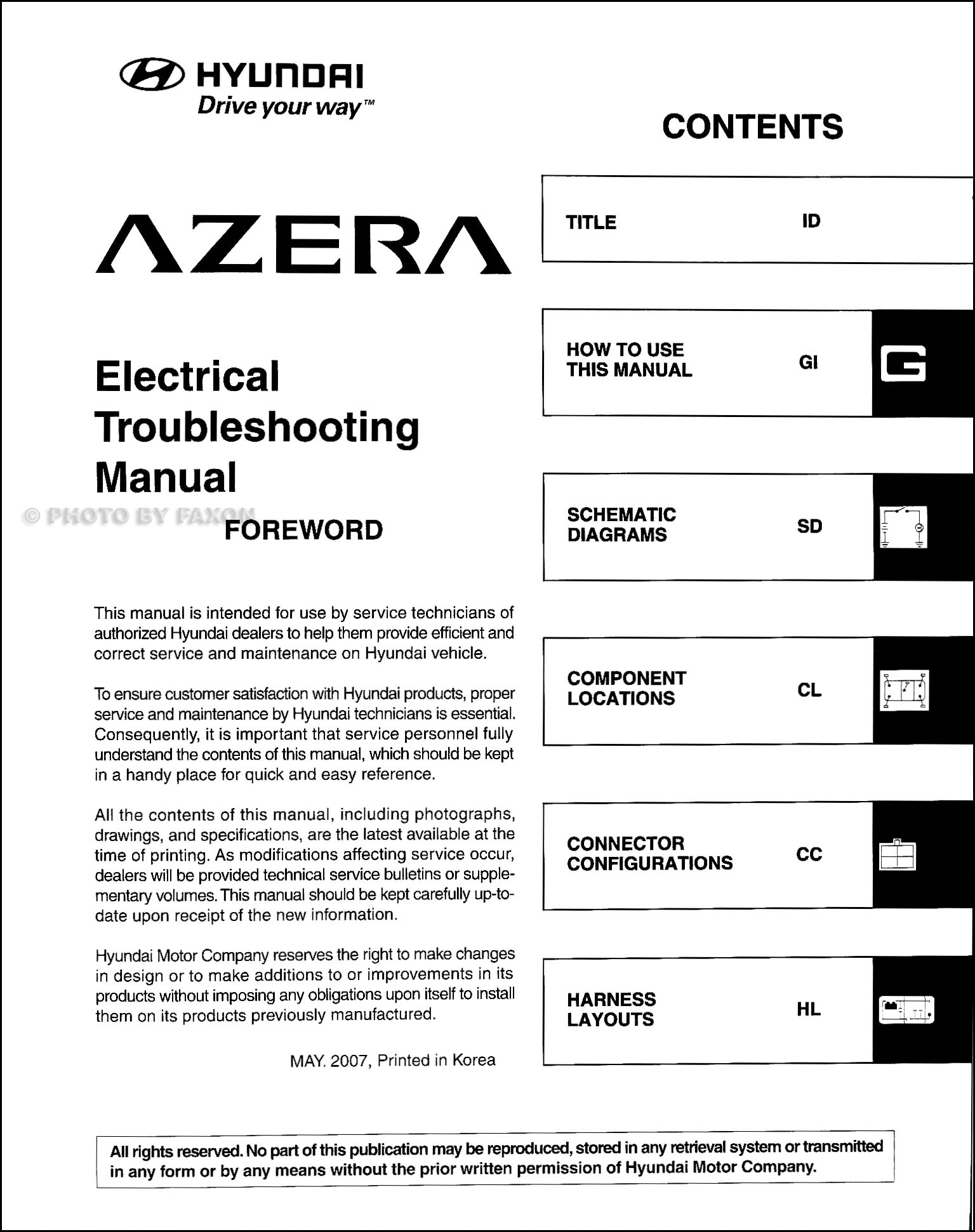 Hyundai Azera Wiring Diagrams Manual Of Diagram 2011 Sonata Headlight 2008 Electrical Troubleshooting Original Rh Faxonautoliterature Com