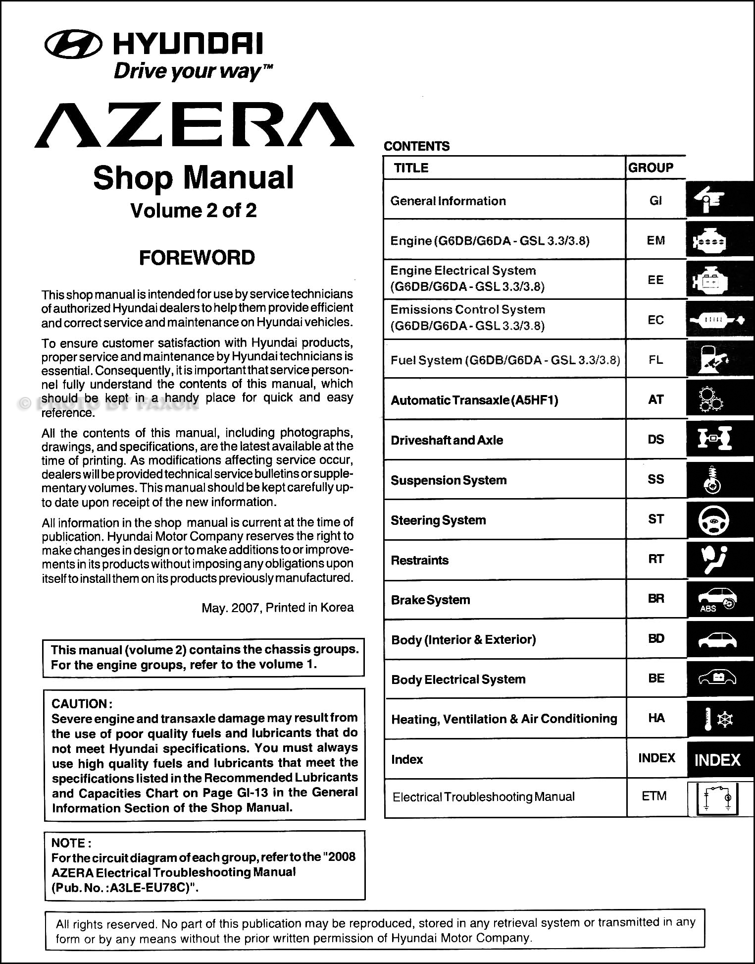 2008 hyundai azera repair shop manual set original rh faxonautoliterature  com 2007 hyundai azera wiring diagram