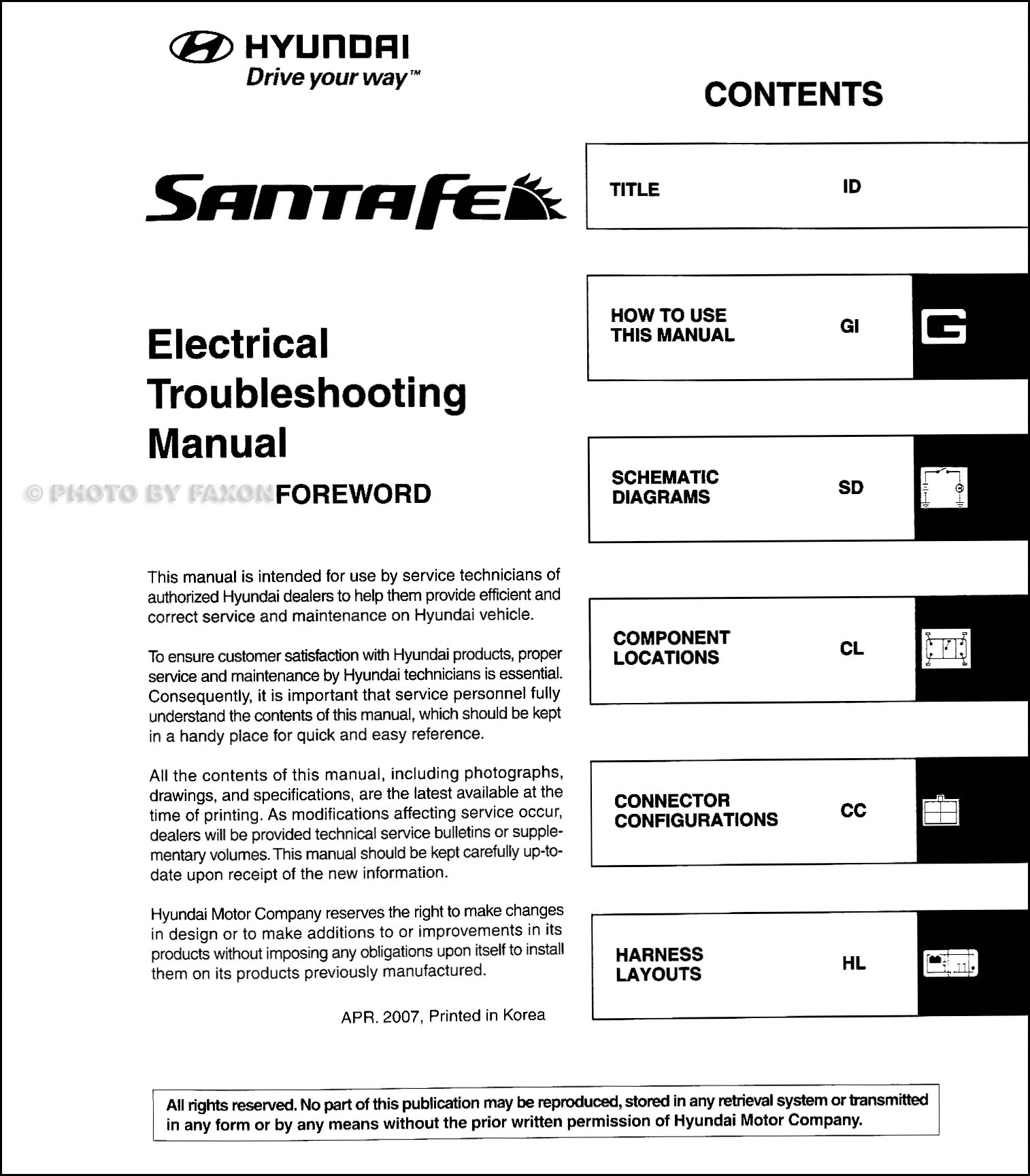 2008 Hyundai Santa Fe Electrical Troubleshooting Manual Factory Reprint ·  Table of Contents