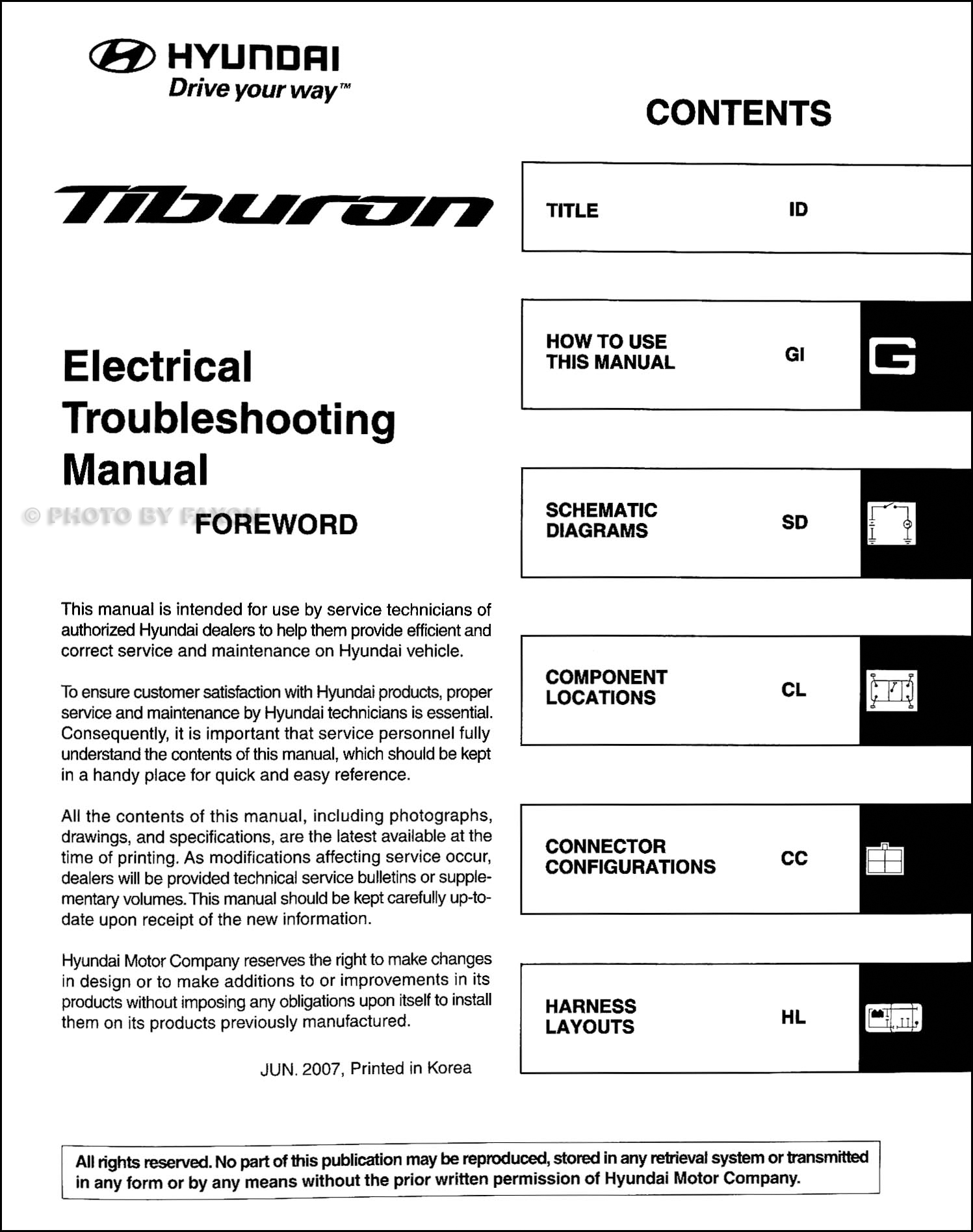 2008 hyundai tiburon electrical troubleshooting manual original rh  faxonautoliterature com 2007 Hyundai Tiburon 1999 Hyundai Tiburon Manual