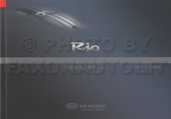 2008 Kia Rio Owners Manual Original