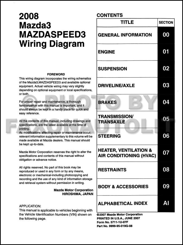 2008 mazda 3 wiring diagram original � table of contents page