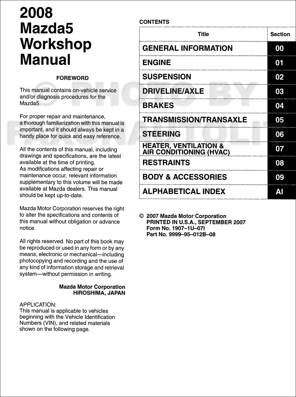 2008 mazda 5 repair shop manual original rh faxonautoliterature com mazda 6  repair manual 2013 mazda 5 repair manual free