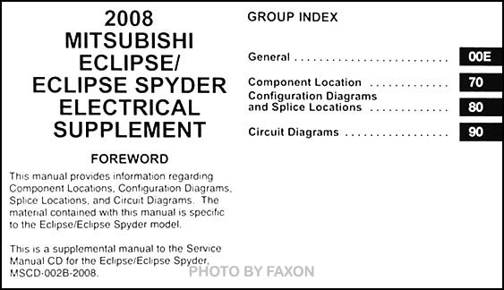 2008 Mitsubishi Eclipse & Spyder Wiring Diagram Manual Original on eclipse fuse box diagram, eclipse rear suspension, eclipse alternator diagram, eclipse heater diagram, eclipse engine diagram, eclipse power steering, eclipse spark plugs, eclipse radio, eclipse avn30d harness diagram, eclipse fuel pump, eclipse thermostat diagram, eclipse pump diagram, eclipse transmission diagram,
