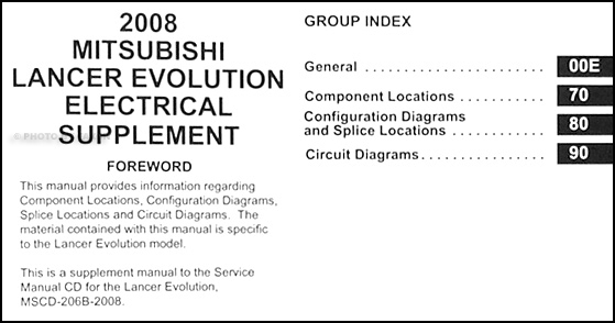 2008 Mitsubishi Lancer Evolution Wiring Diagram Manual