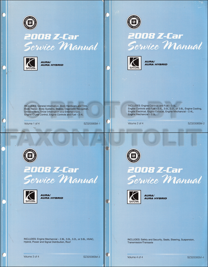 2009 Saturn Aura and Aura Hybrid Repair Manual Original 4 Volume Set