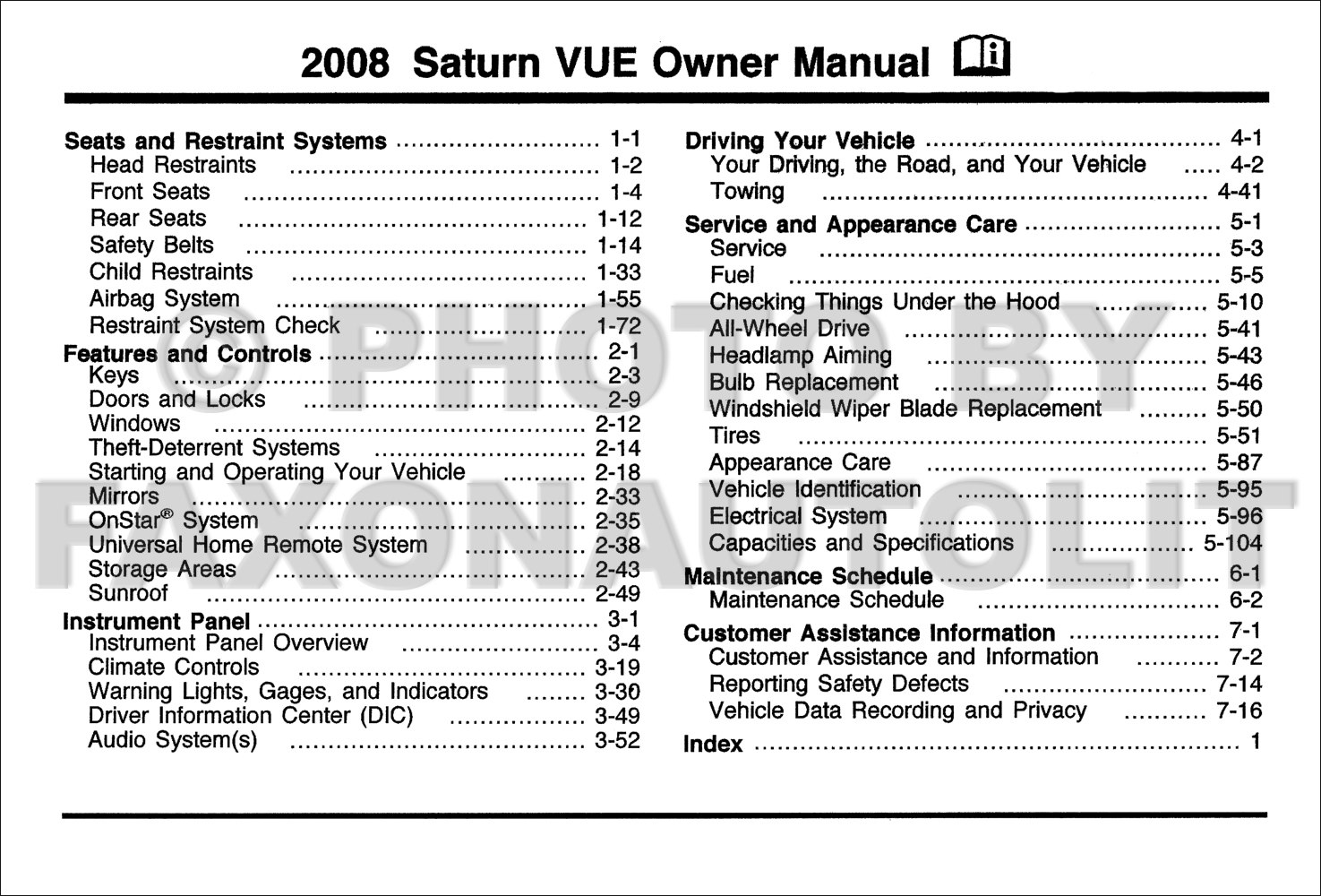 2008 Saturn Vue Owner's Manual Original · Table of Contents