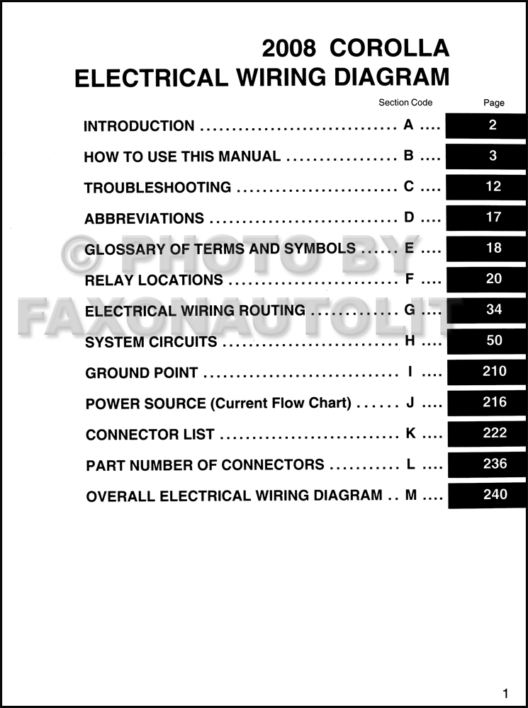 2008 Toyota Corolla Wiring Diagram Manual Original