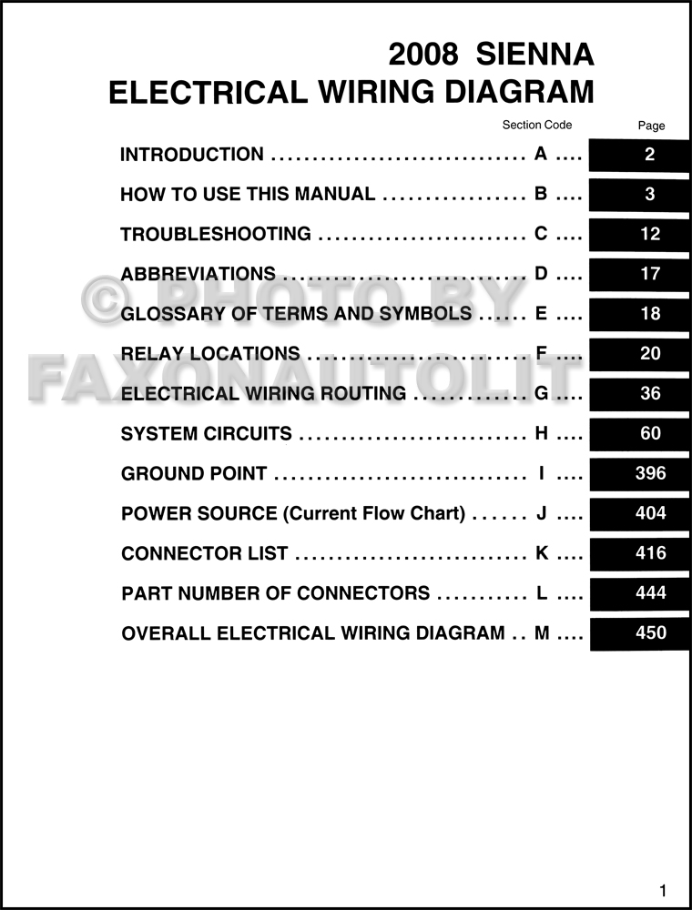 2008 Toyota Sienna Van Wiring Diagram Manual OriginalFaxon Auto Literature