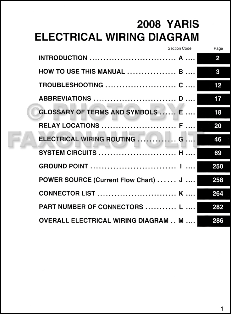 2008 toyota yaris wiring diagram manual original � table of contents page