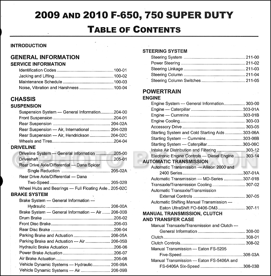 2008 Ford Super Duty F-650-750 Repair Manual Original · Table of Contents  Page 1