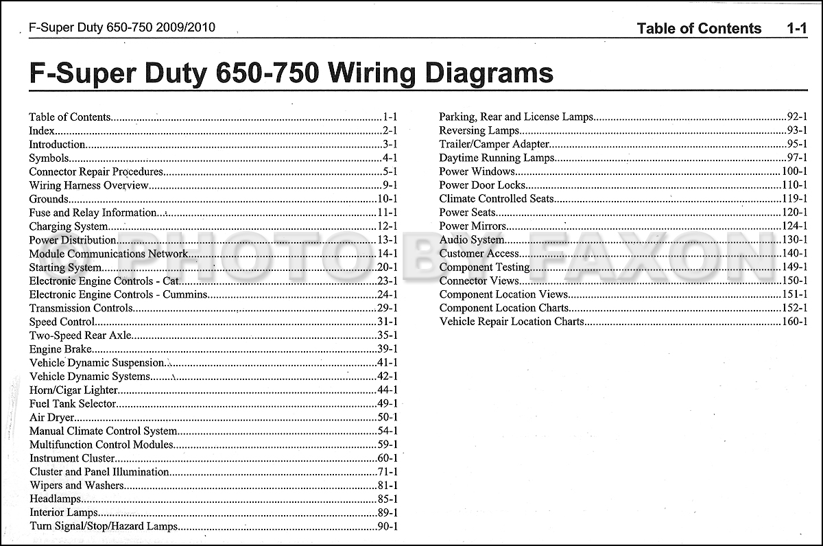 2009 2010 Ford F650 F750 Medium Truck Wiring Diagram Manual Original 2006 F150 Power Mirror Table Of Contents