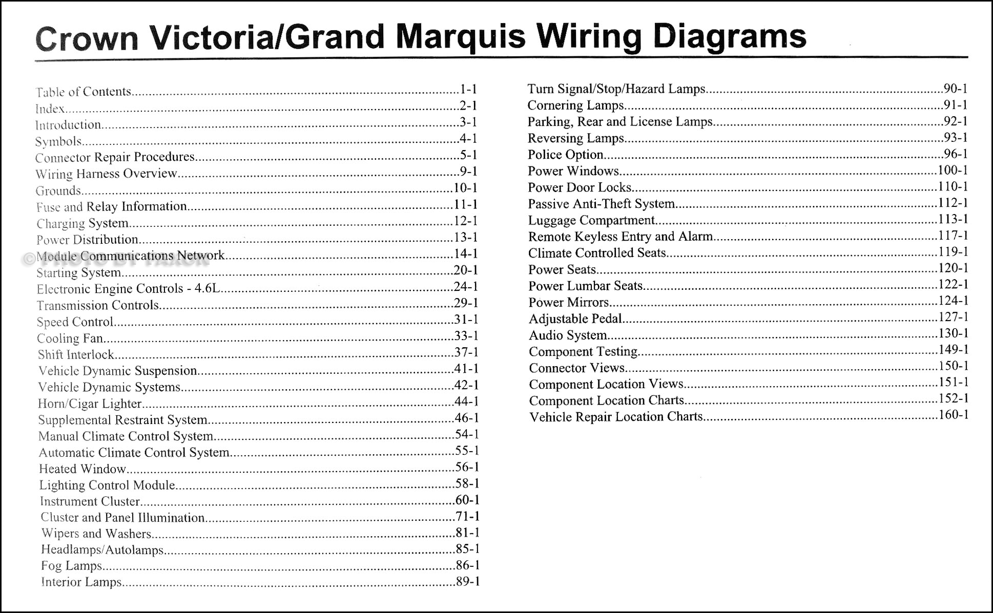2009 Crown Victoria & Grand Marquis Original Wiring Diagram Manual · Table  of Contents