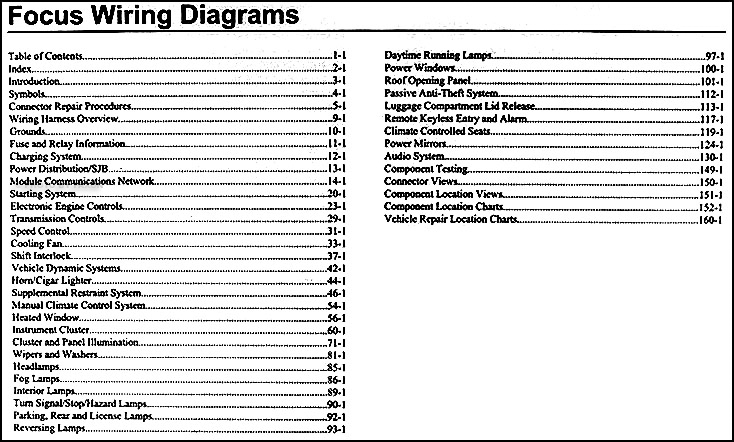 2004 ford focus wiring diagram wiring diagram2009 ford focus wiring diagram manual original2009 ford focus wiring diagram manual original · table of