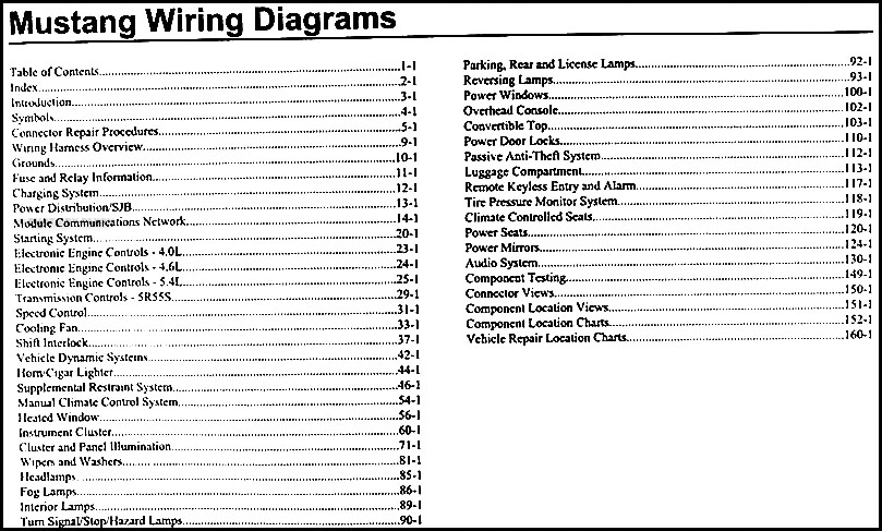2009 ford mustang wiring diagram manual original � table of contents