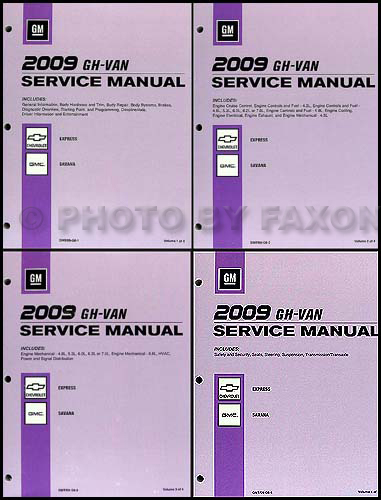 2009 Express Van Savana Repair Shop Manual 4 Volume Set Original Chevy GMC
