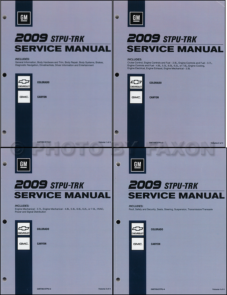 2009 Colorado and Canyon Repair Shop Manual Original 4 Volume Set