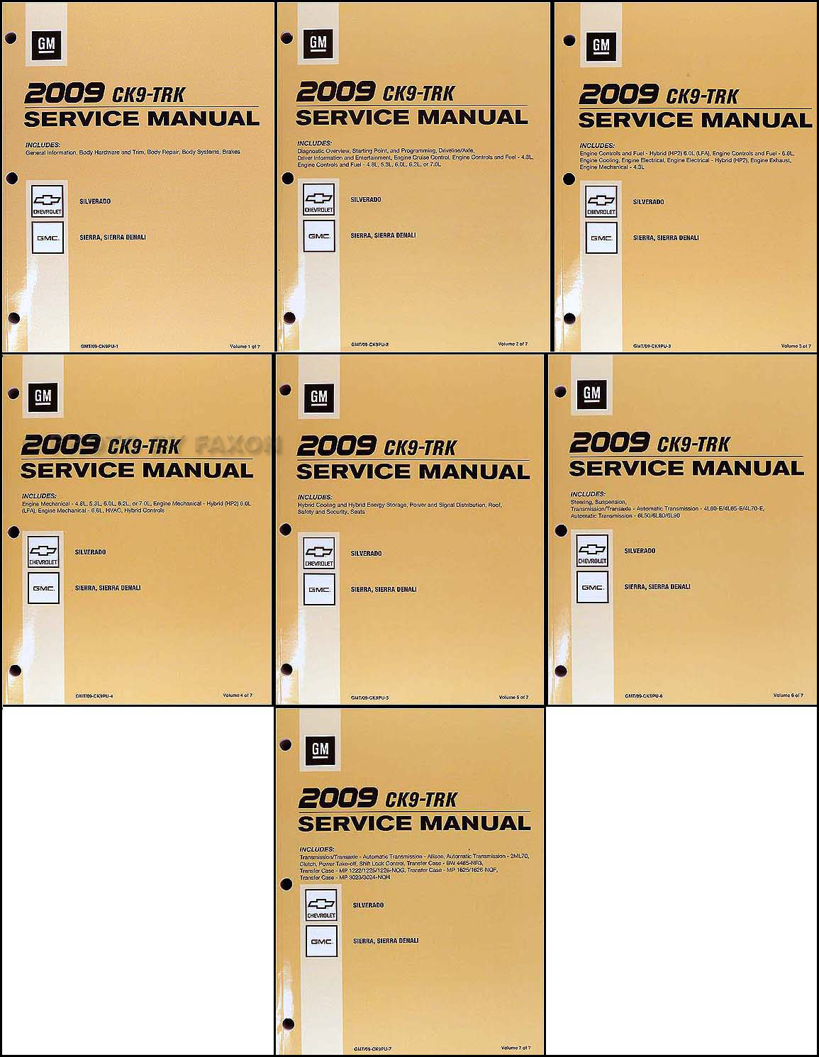 2009 Silverado and Sierra Repair Manual Original 7 Volume Set