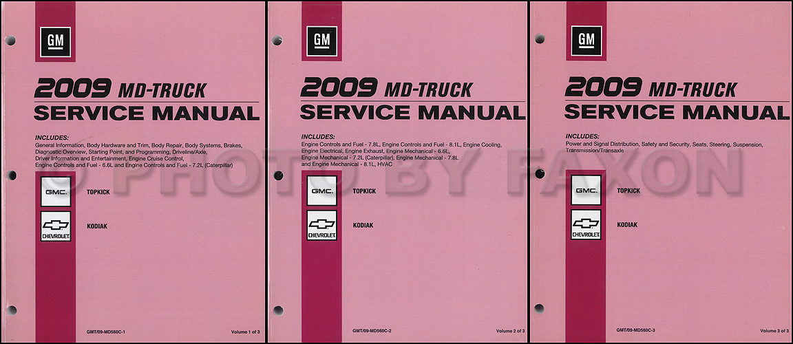 2009 GMC Topkick and Chevy Kodiak Repair Shop Manual 3 Vol. Set Original