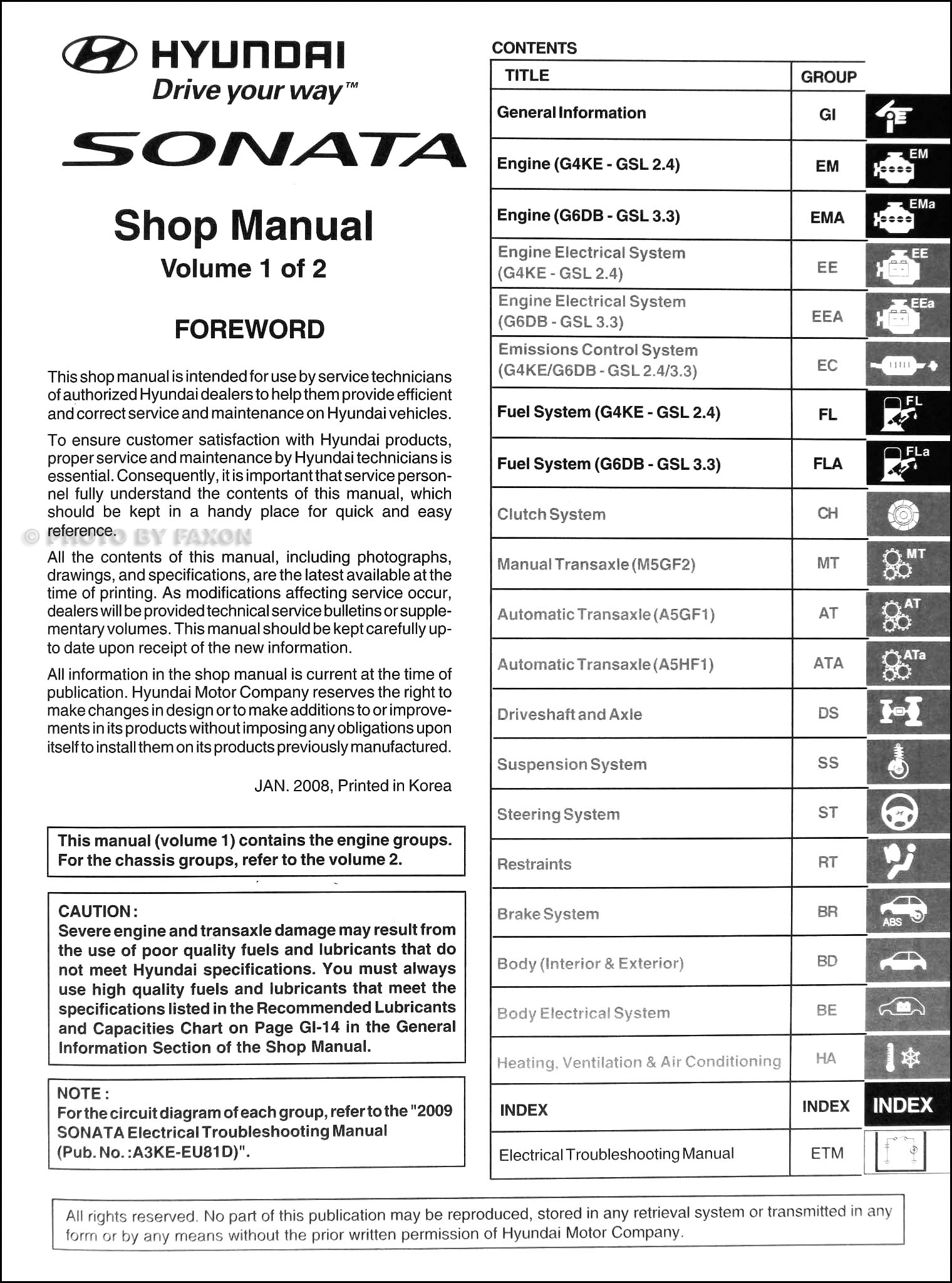 2009 Hyundai Sonata Shop Manual 2 Volume Set Original · Table of Contents
