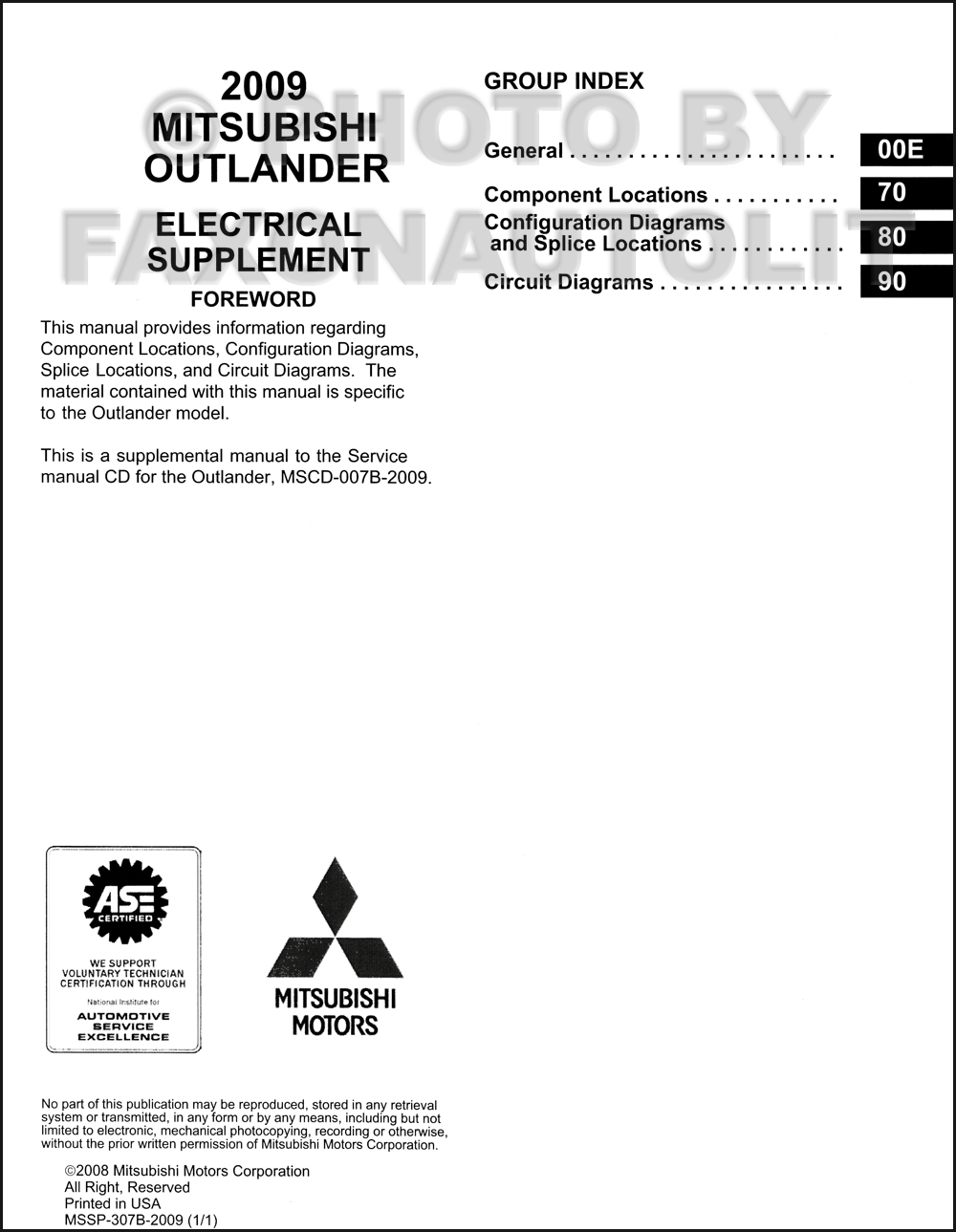 2009 Mitsubishi Outlander Wiring Diagram Manual Original Supplement