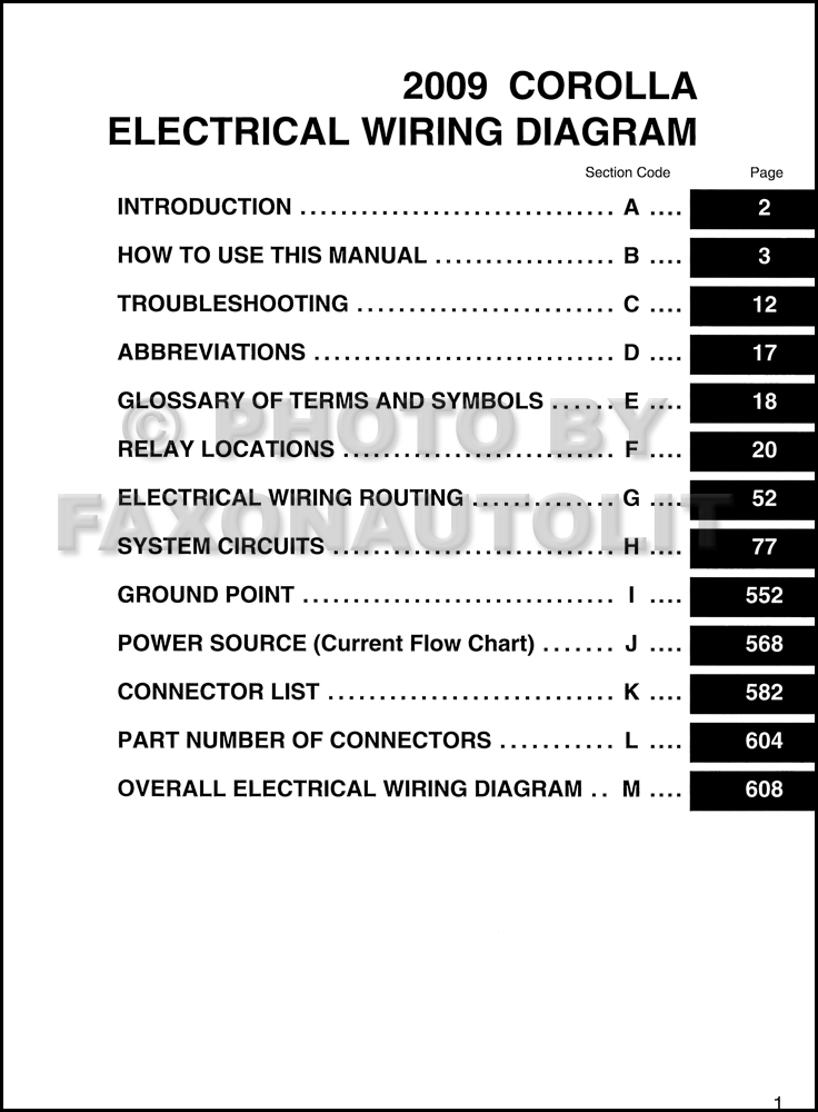 2009 toyota corolla wiring diagram manual original  faxon auto literature