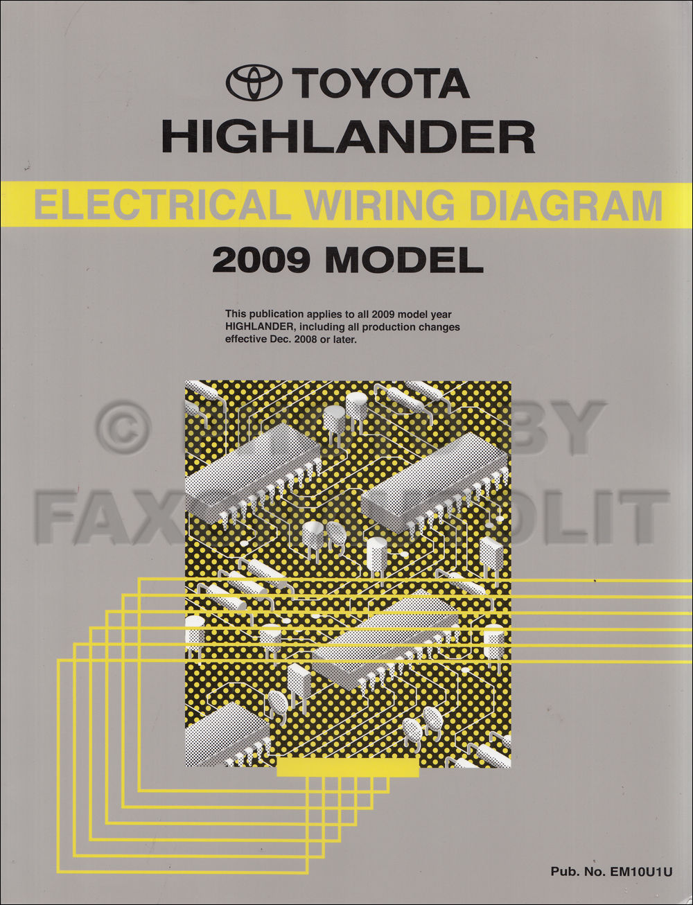 2009 Toyota Highlander GAS Wiring Diagram Manual Original