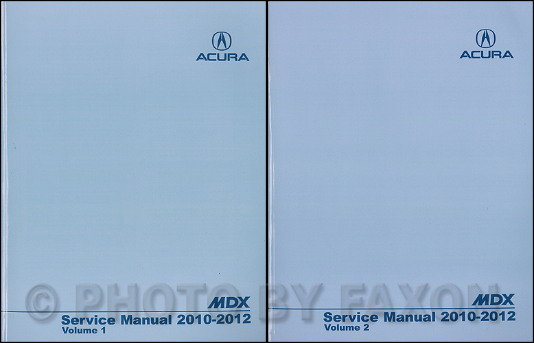 2010-2012 Acura MDX Repair Shop Manual Original 2 Volume Set
