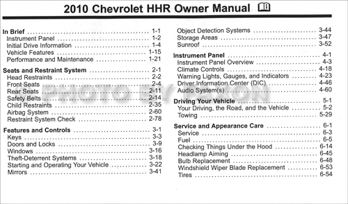2007 chevy chevrolet hhr owners manual
