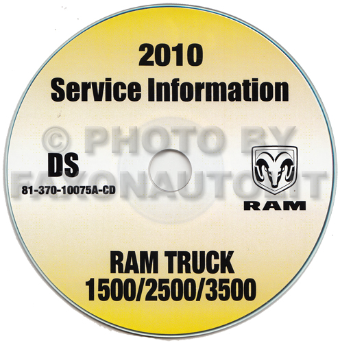 2010 Ram Pickup Truck 1500 2500 3500 Repair Shop Manual CD-ROM Dodge