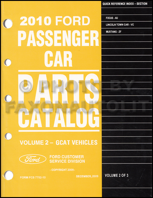 2010 Focus Mustang Town Car Parts Book Original Ford Lincoln
