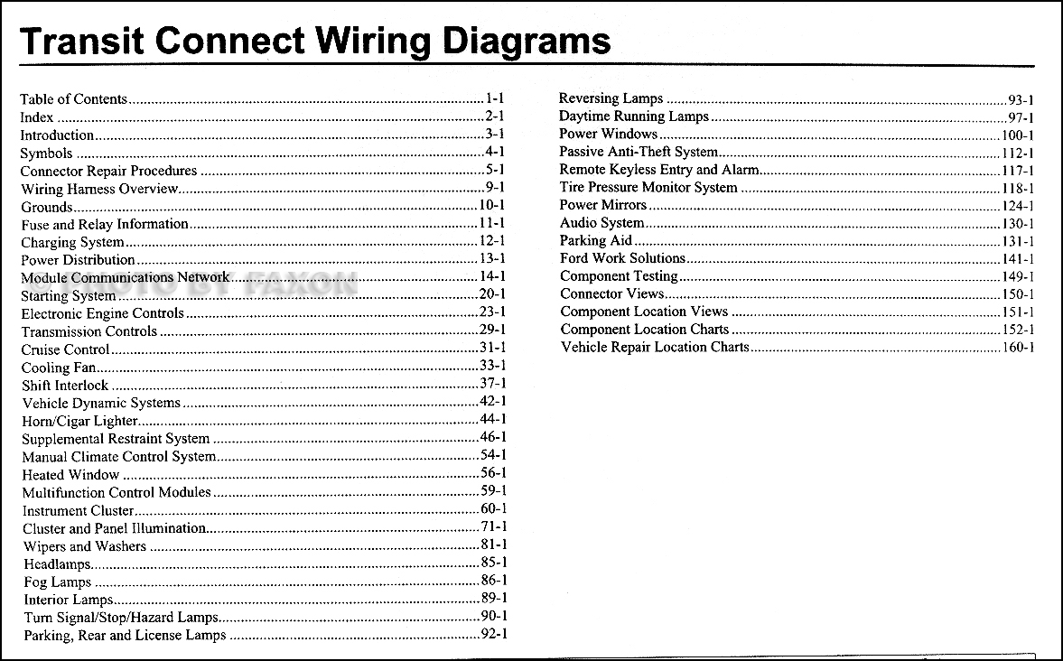 2010 Ford Transit Connect Wiring Diagram Manual Original 2002 Beetle Door Table Of Contents