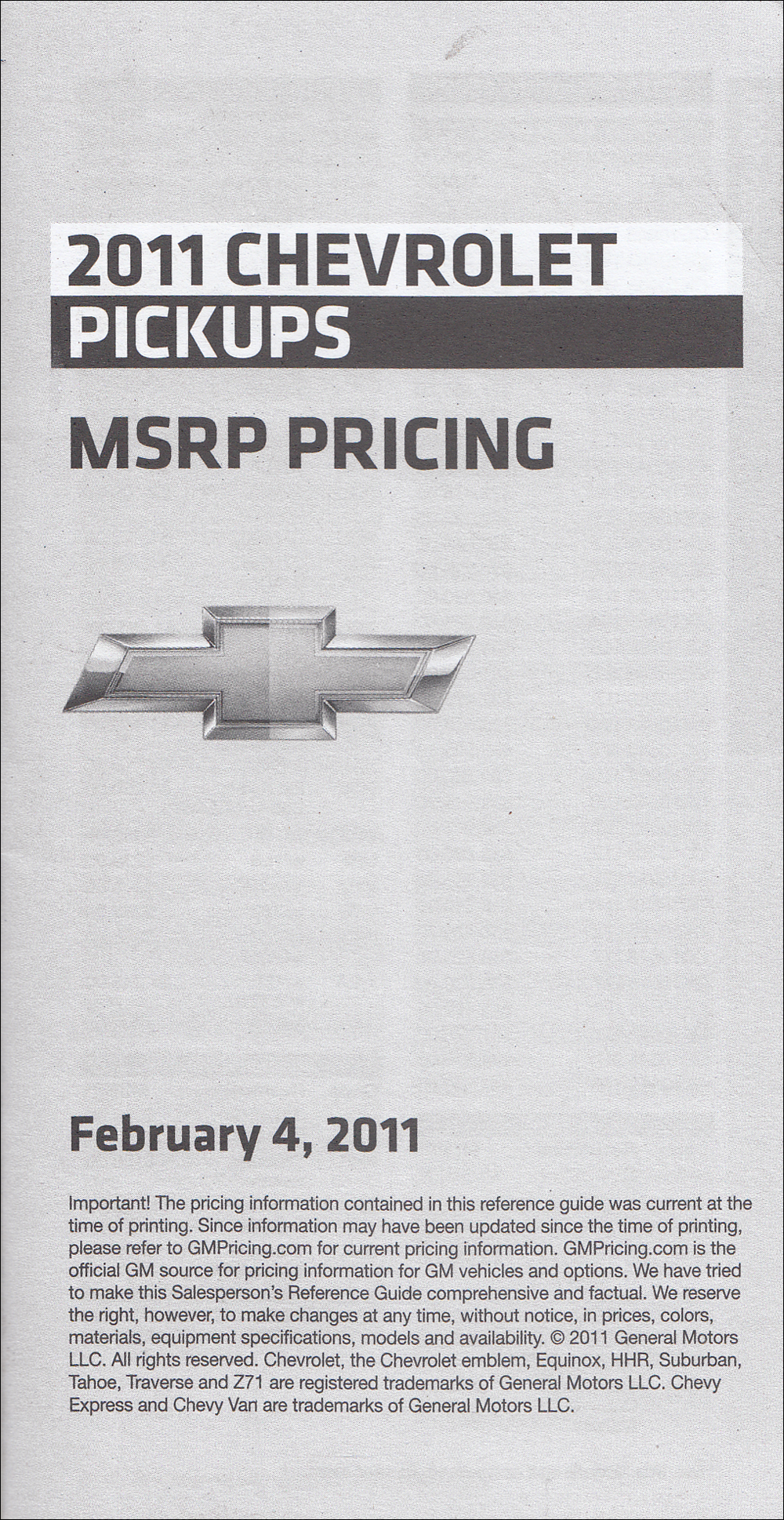 2011 Chevrolet Pickup Price List Dealer Album Original Insert