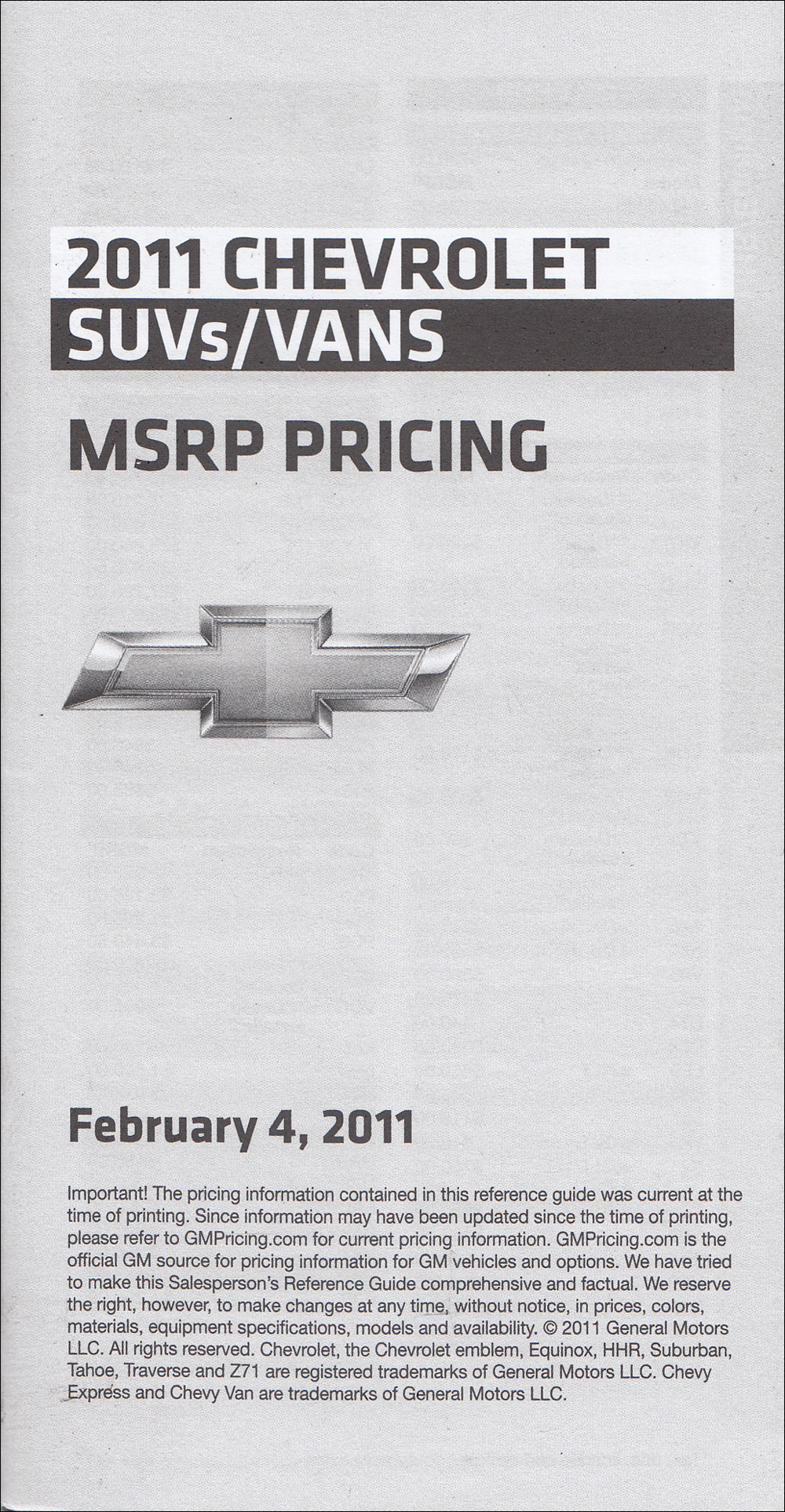 2011 Chevrolet SUVs & Vans Price List Dealer Album Original Insert