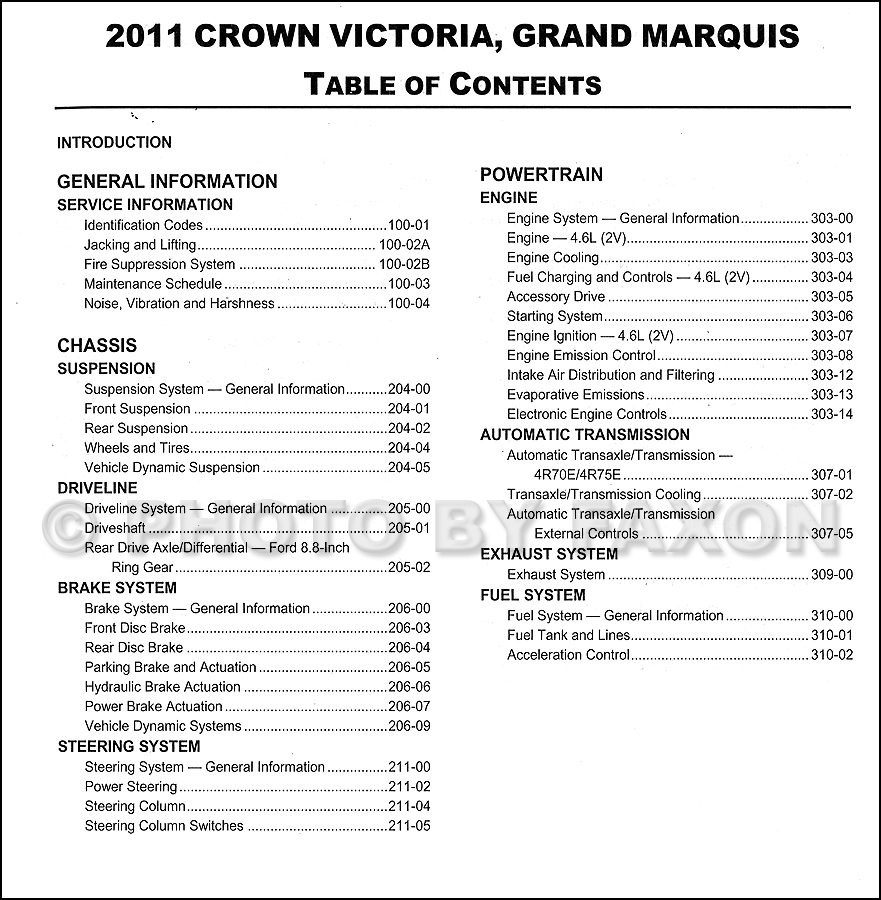 ... Grand Marquis Repair Shop Manual Original · Table of Contents Page 1