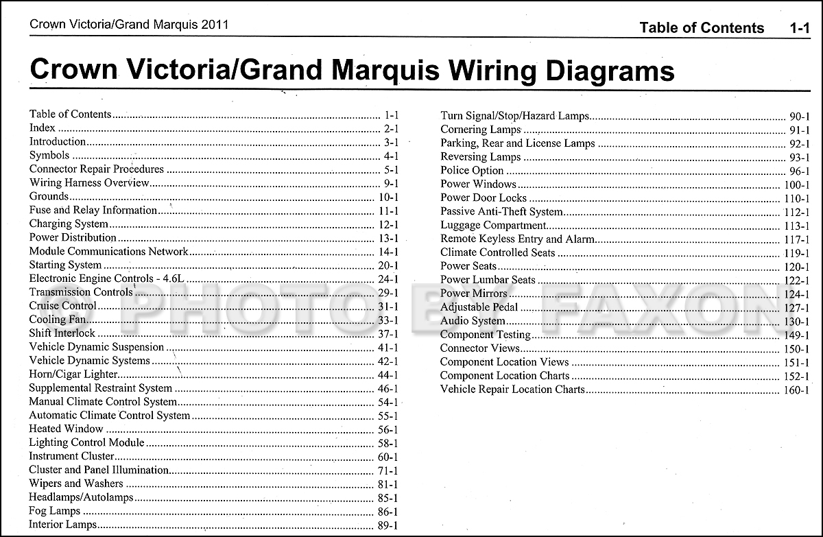 2011 Ford Crown Victoria Mercury Grand Marquis Wiring Diagram Manual Original