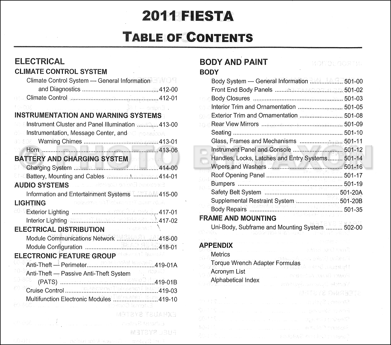 2011 Ford Fiesta Repair Shop Manual Original · Table of Contents Page 1 ·  Table of Contents Page 2