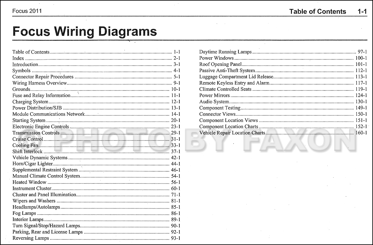 2011 Ford Focus Wiring Diagram Manual Original 1971 F100 Factory