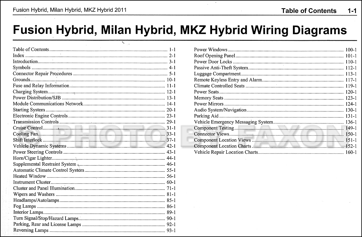 2011 Hybrid Ford Fusion Mercury Milan Lincoln Mkz Wiring Diagram Manual Original