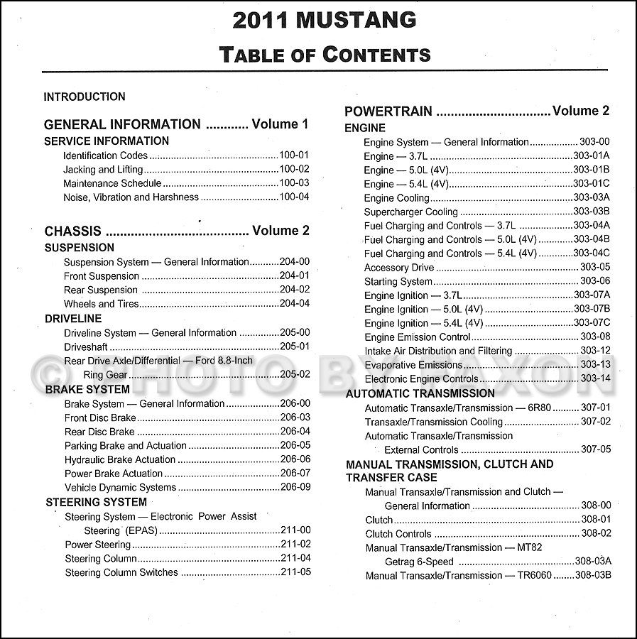 2011 Ford Mustang Repair Shop Manual Original 2 Volume Set · Table of  Contents Page 1